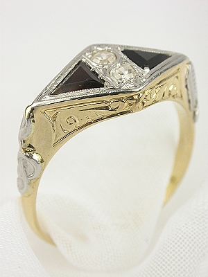 Victorian Jet and Diamond Engagement Ring