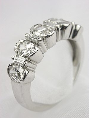 Wedding Ring with Oval and Baguette Cut Diamonds