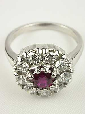 Ruby and Diamond Cluster Ring by Topazery