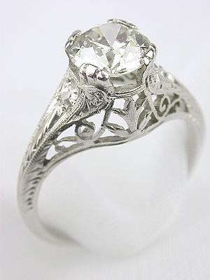 Edwardian Filigree Diamond Engagement Ring