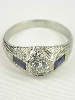 1920's Antique Engagement Ring with Wheat Design