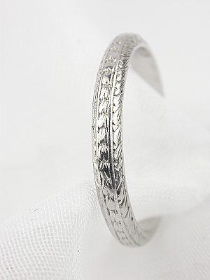 Wheat and Leaf Motif Wedding Ring