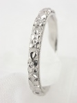 Floral Carved Wedding Ring in Platinum