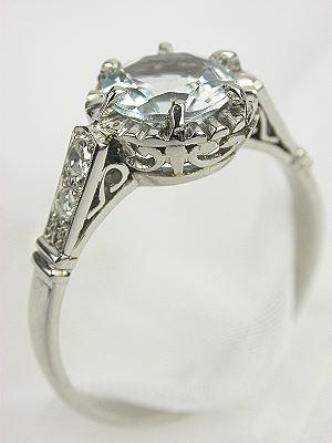 Antique Platinum Aquamarine Engagement Ring
