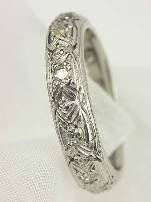 Pierced and Engraved Antique Platinum Wedding Ring