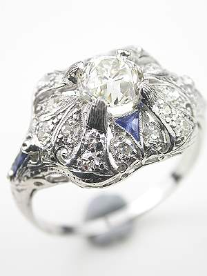 Art Deco Engagement Ring with Sapphires