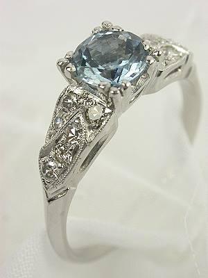 1930's Aquamarine Antique Engagement Ring
