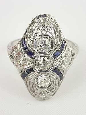 Art Deco Antique Platinum Dinner Ring