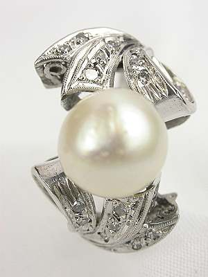 Bow and Ribbon Antique Pearl Engagement Ring