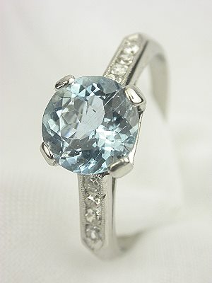 Classic  Aquamarine Antique Engagement Ring