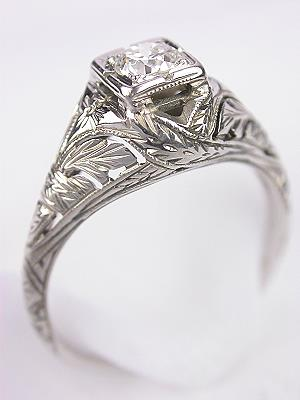 Pierced and Hand Engraved Antique Engagement RIng
