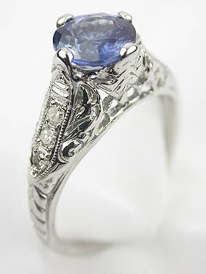1930s Antique Sapphire Filigree Engagement Ring