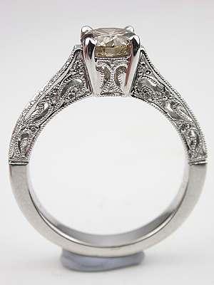 Fancy Colored Diamond Filigree Engagement Ring