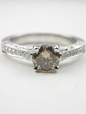 Fancy Colored Diamond Filigree Engagement Ring