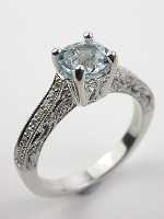 Antique Style Aquamarine Filigree Engagement Ring
