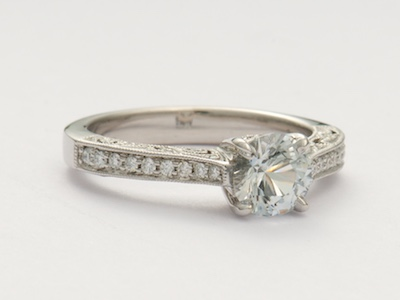 White Sapphire Vintage Style Engagement Ring