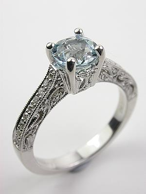 antique style aquamarine filigree engagement ring - Antique Style Wedding Rings