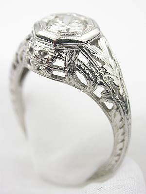 Antique Floral Engagement Ring with Hand Engraving