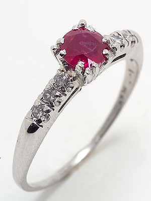 Antique Ruby Platinum Engagement Ring, Circa 1935