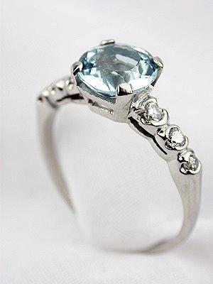 Classic Antique Aquamarine Engagement Ring