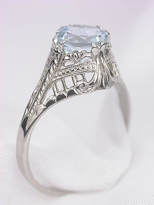 Antique Filigree Engagement Ring by Ostby and Barton