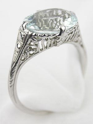 1930's Filigree and Aquamarine Engagement Ring