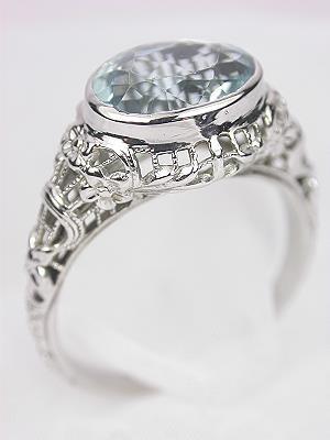 Antique Filigree Aquamarine Engagement Ring