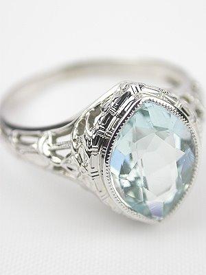 Filigree Antique Aquamarine Engagement Ring