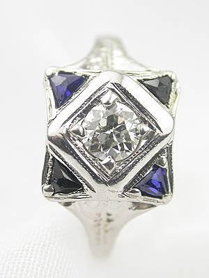 Art Deco Antique Diamond and Sapphire Engagement Ring