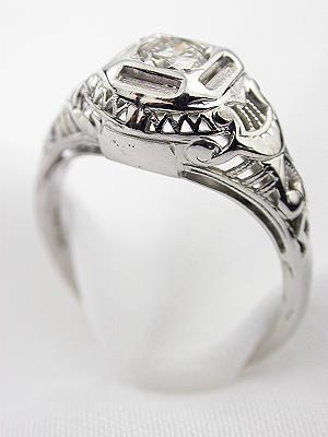 1920's Filigree Diamond Engagement Ring