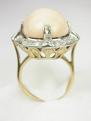Coral and Diamond Antique Cocktail Ring