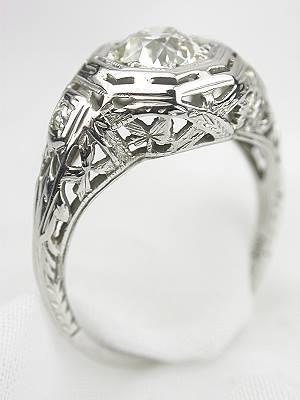 Old Mine Cut Diamond Antique Engagement Ring