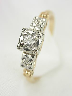 1930s Two Toned Diamond Engagement Ring