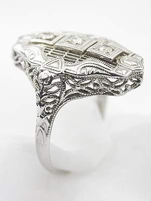 Antique Filigree Diamond Dinner Ring