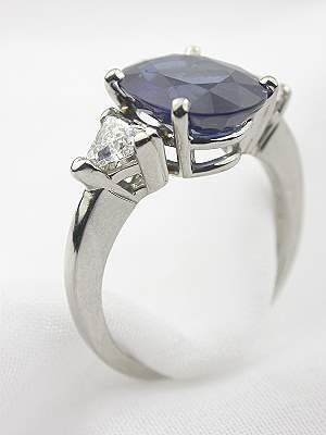 Sapphire Engagement Ring with Trillian Cut Diamonds
