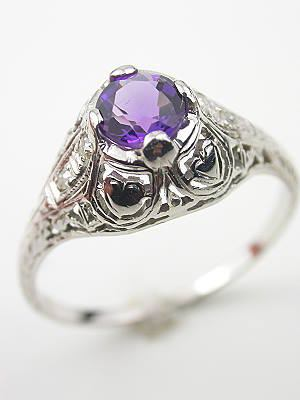 1920s Amethyst and Hearts Engagement Ring