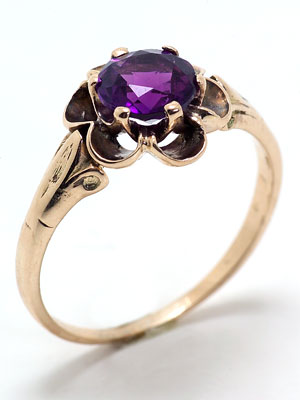 Victorian Antique Engagement Ring with Amethyst