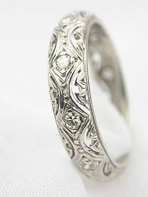 Art Deco Filigree Diamond Wedding Band