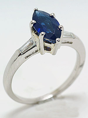 Antique Engagement Ring with Marquise Cut Sapphire
