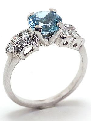 Retro Modern Aquamarine Engagement Ring
