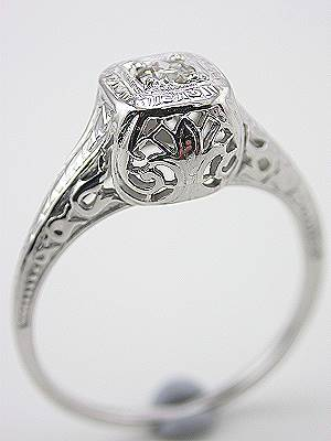 Scroll and Filigree Diamond Antique Engagement Ring