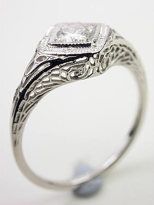 Filigree and Diamond Antique Engagement Ring