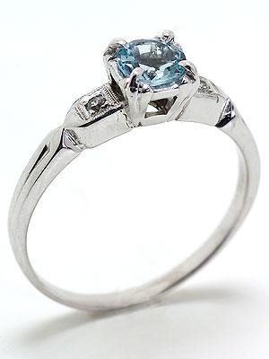 1935 Antique Aquamarine Engagement Ring