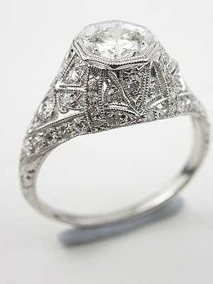 Handwrought Edwardian Diamond Engagement Ring