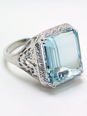 Antique Aquamarine Dinner Ring with Pierced Design