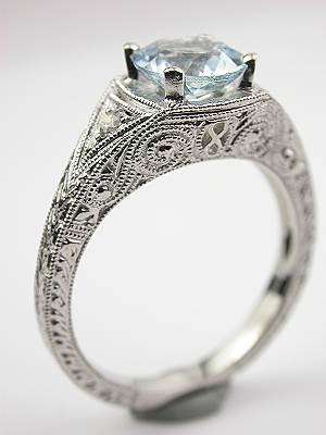 Filigree Aquamarine Engagement Ring