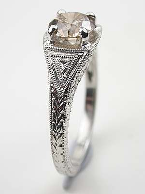 Filigree Engagement Ring with Fancy Diamond
