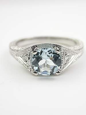 Aquamarine Filigree Engagement Ring