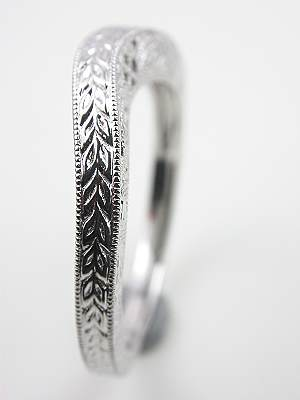 Vintage Style Wedding Ring with Carved Design