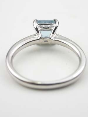 Asscher Cut Aquamarine Engagement Ring